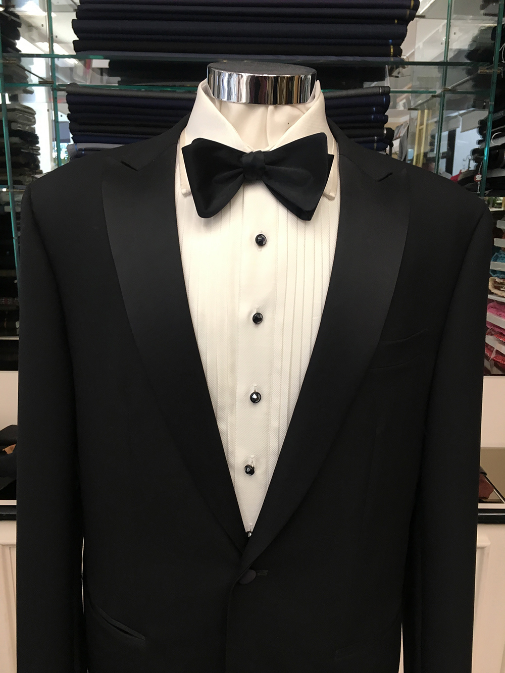 Black Tuxedo with silk satin lapel & pleated Egyptian cotton tuxedo shirt