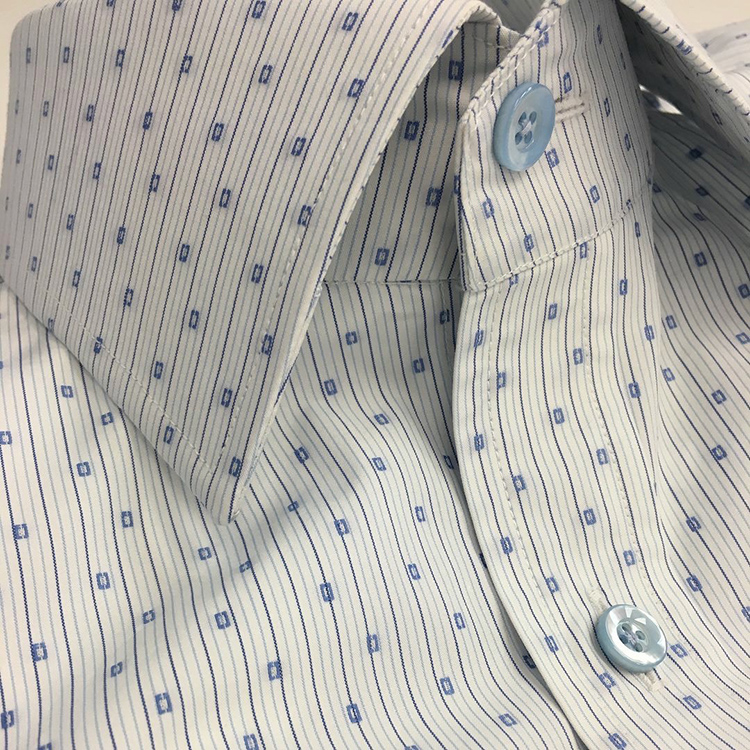 Jacquard Egyptian Cotton for a custom shirt with light blue mother of pearl buttons