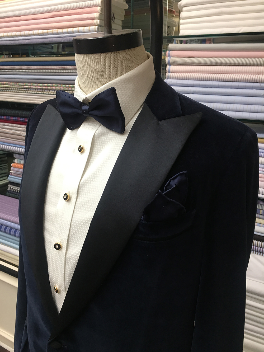 Navy Velvet Tuxedo with silk satin lapel & white-on-white Egyptian cotton tuxedo shirt