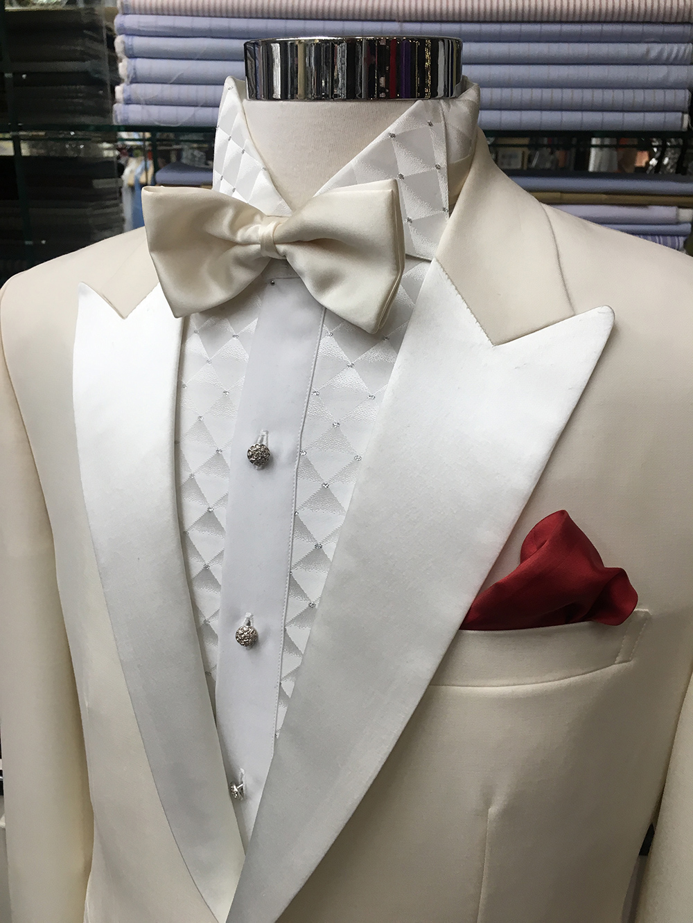 White tuxedo with silk satin lapel & one-of-a-kind tuxedo shirt