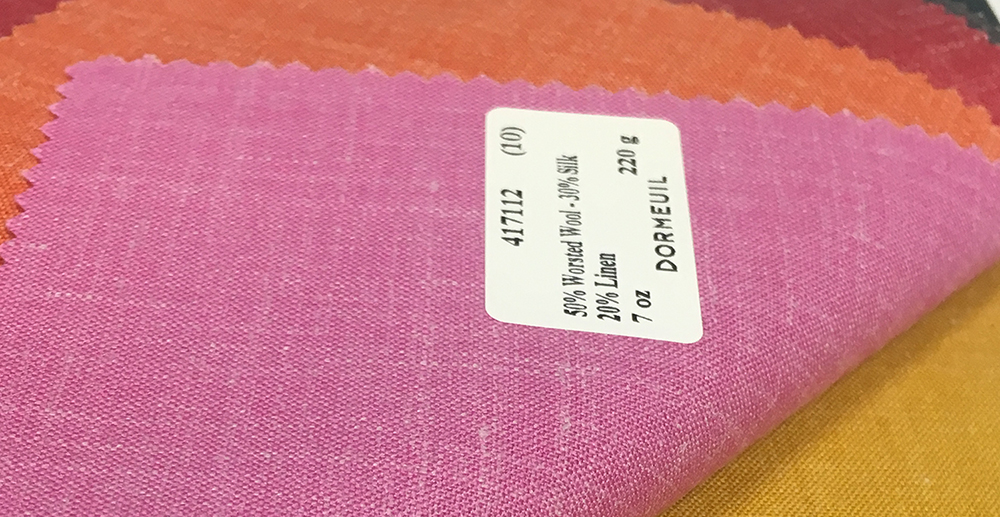Dormeuil Naturals Wool, Silk, & Linen fabric for custom suits, pants, trousers, and jackets at Mr. Alex