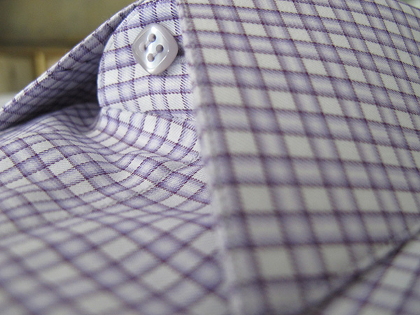 Purple Gingham Poplin by Loro Piana. Bold colors on a lightweight fabric.